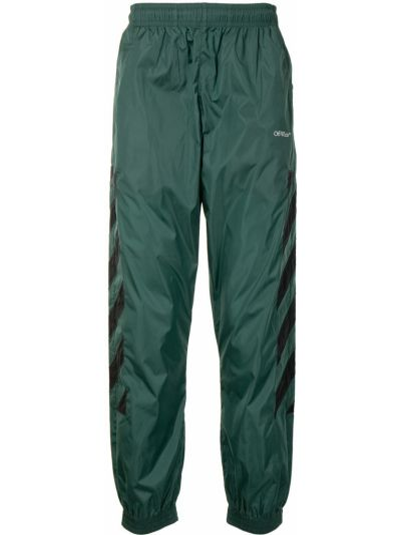 Zielony spodnie w paski z paskami Off-white