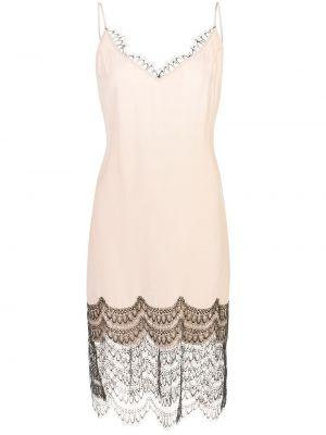 Шелковое розовое платье на бретелях с V-образным вырезом Kiki De Montparnasse