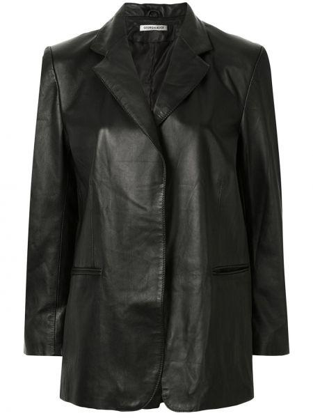 Черный кожаный пиджак оверсайз Georgia Alice