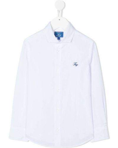 Белая прямая рубашка с воротником с вышивкой Fay Kids