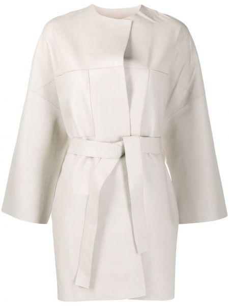 Кожаное длинное пальто с капюшоном с вырезом S.w.o.r.d 6.6.44