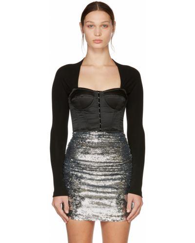 Satynowa bluzka - czarna Dolce And Gabbana
