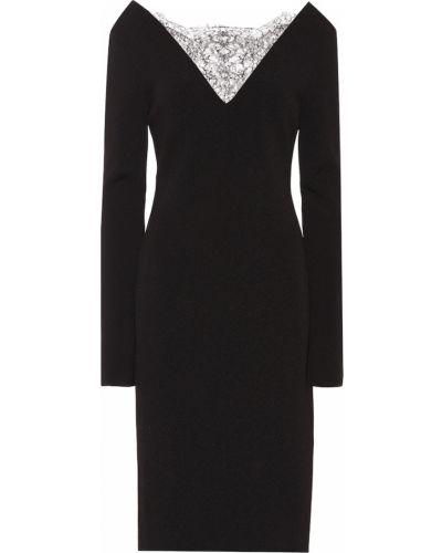 Ażurowy czarny sukienka midi z wiskozy na sznurowadłach Givenchy