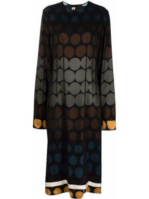 Платье миди в горошек - черное Marni