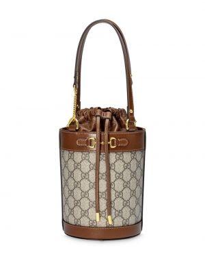 Ze sznurkiem do ściągania klasyczny brązowy brezentowy mini torebka Gucci
