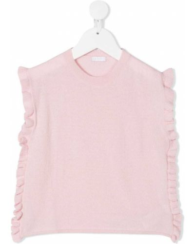 Różowy t-shirt bez rękawów wełniany Il Gufo