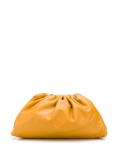 Желтая кожаная сумка с оборками Bottega Veneta