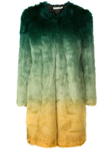 Зеленая длинное пальто из искусственного меха круглая Mary Katrantzou