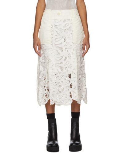 Сатиновая белая юбка с карманами Sacai