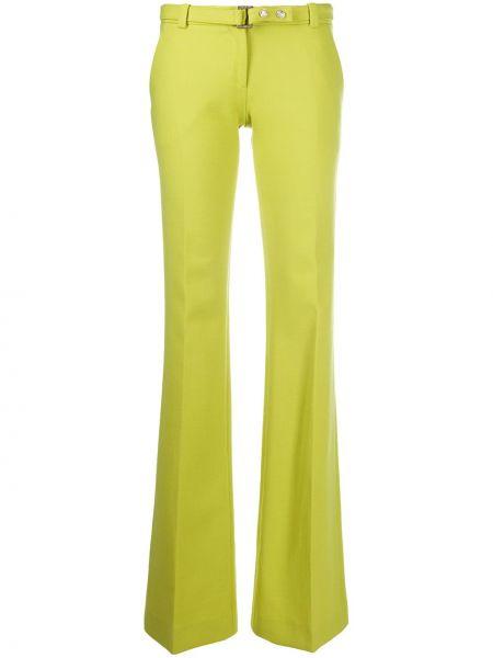 Зеленые шерстяные расклешенные брюки Versace Pre-owned