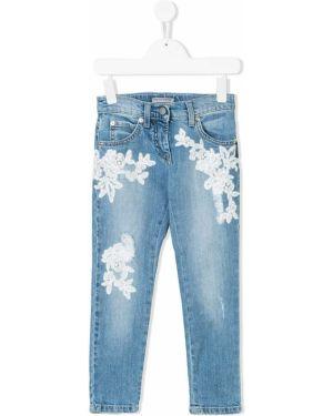 Кожаные синие джинсы скинни Ermanno Scervino Junior