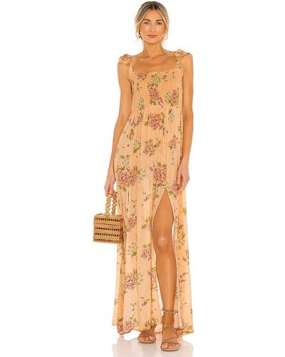 Облегченное оранжевое платье макси из вискозы Agua Bendita