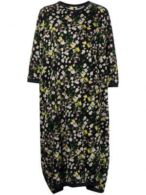 Платье в цветочный принт - черное Cynthia Rowley