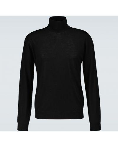 Prążkowany czarny sweter wełniany Lardini