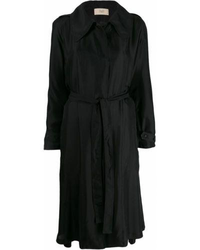 Черное длинное пальто с капюшоном Maison Flaneur