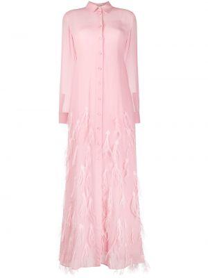 Розовое шелковое платье макси с перьями Emilio Pucci