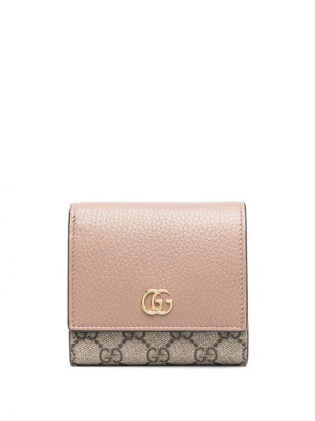 Skórzany portfel z kieszeniami złoto z gniazdem Gucci