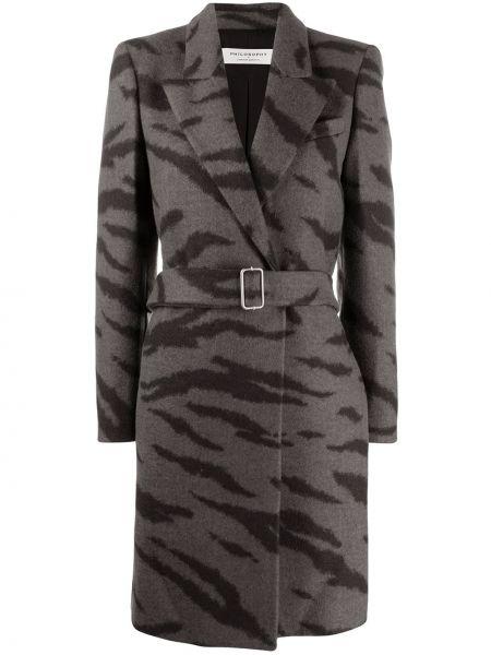 Шерстяное черное пальто с воротником Philosophy Di Lorenzo Serafini