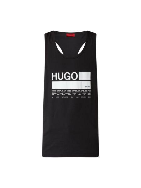 Bawełna bawełna czarny top z dekoltem Hugo