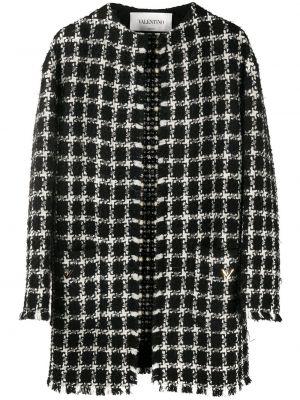 Черное пальто в клетку с капюшоном Valentino