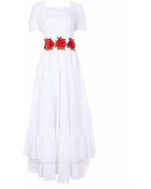 Белое асимметричное приталенное платье мини с короткими рукавами Von Vonni