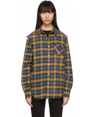 Рубашка с длинным рукавом в клетку без воротника R13