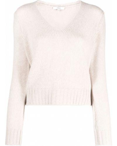 Beżowy sweter z dekoltem w serek Vince