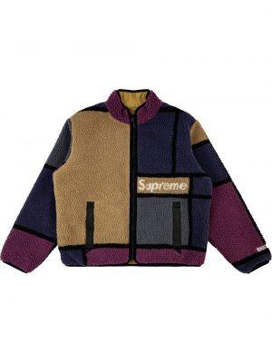Fioletowa długa kurtka bawełniana z długimi rękawami Supreme