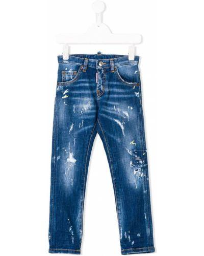 Кожаные джинсы на молнии с заплатками Dsquared2 Kids