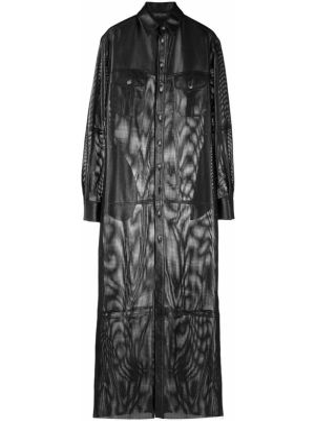 Кожаное классическое платье на пуговицах с воротником Simonetta Ravizza