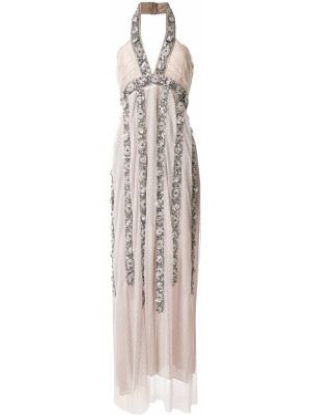 Серебряное платье с вышивкой со шлицей с вырезом Christian Pellizzari