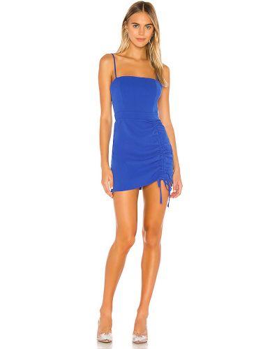 Niebieski z paskiem sukienka mini na paskach z falbankami Superdown