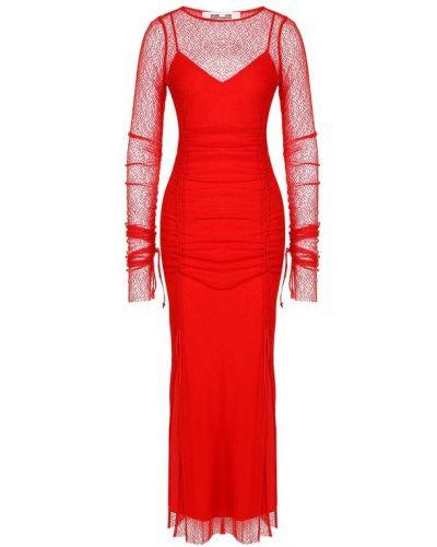 Платье миди из вискозы с вырезом Diane Von Furstenberg