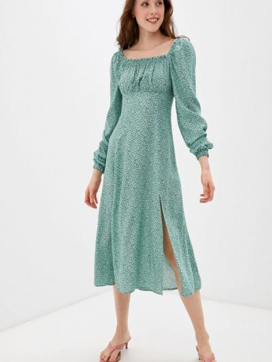 Бирюзовое платье с открытыми плечами Imocean
