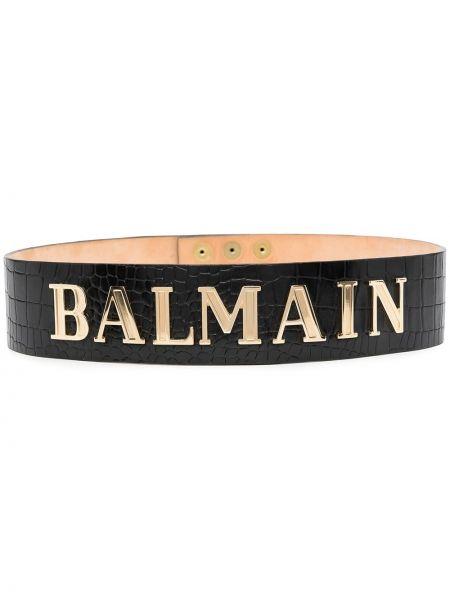Черный ремень металлический на кнопках с тиснением Balmain