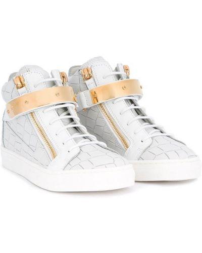 Кожаные белые хайтопы на шнуровке Giuseppe Junior