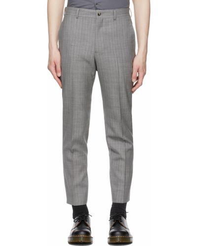 Satynowe białe spodnie z paskiem Comme Des Garcons Homme Deux