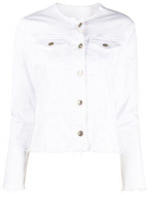 Хлопковая белая джинсовая куртка с нашивками 7 For All Mankind