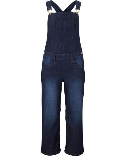 Темно-синий джинсовый комбинезон свободного кроя Bonprix