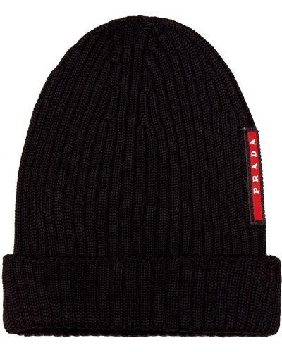 Вязаная шапка с отворотом черная Prada