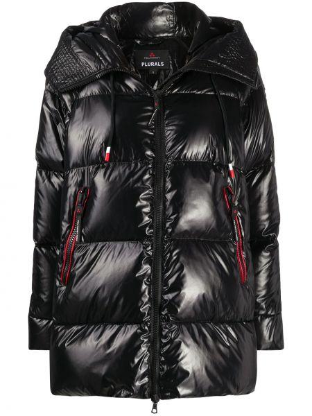 Черное пуховое стеганое пальто двустороннее с перьями Peuterey