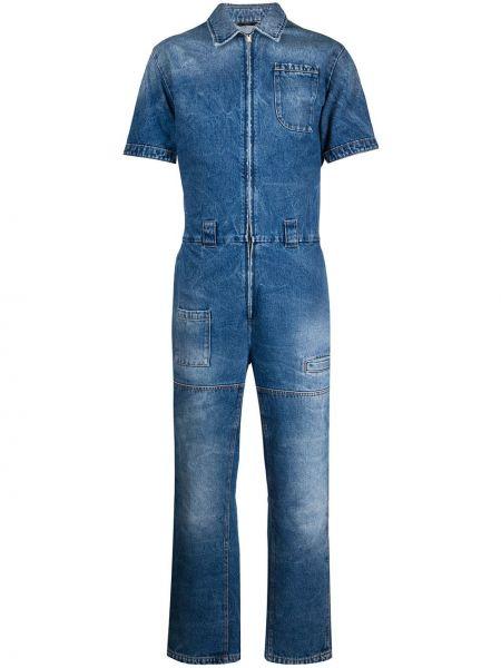Синий открытый костюм классический с карманами Fendi