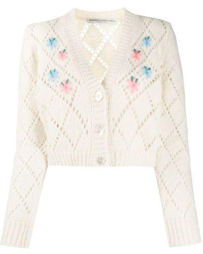 Шерстяной белый вязаный кардиган с вышивкой на пуговицах Alessandra Rich
