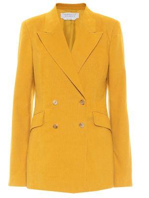 Хлопковый желтый пиджак двубортный Gabriela Hearst