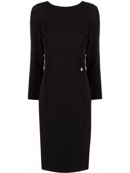 Приталенное с рукавами черное платье миди Twin-set