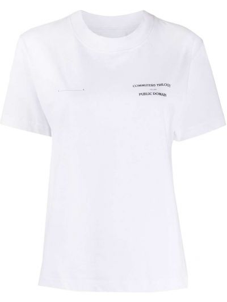 Хлопковая белая прямая футболка с круглым вырезом Soulland
