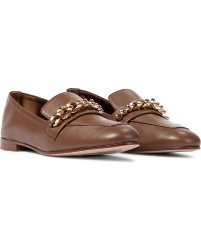 Кожаные коричневые лоферы Max Mara