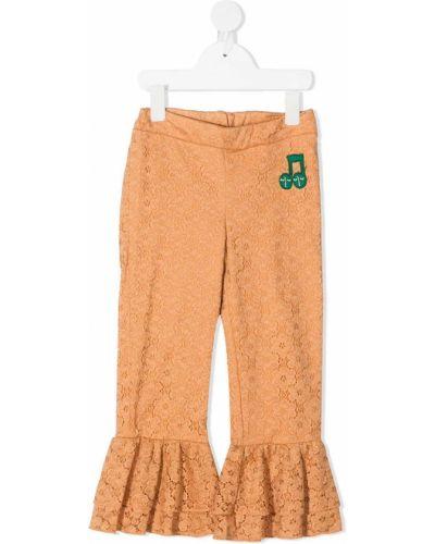 Spodnie bawełniane z falbanami koronkowe Mini Rodini