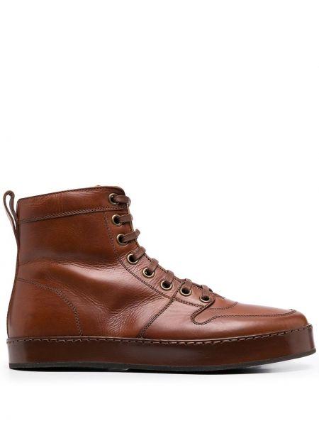 Brązowy buty obcasy zasznurować okrągły nos z prawdziwej skóry Officine Creative