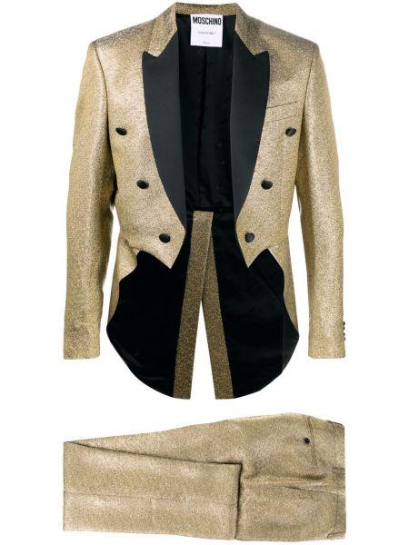 Костюмный костюм золотой двубортный Moschino